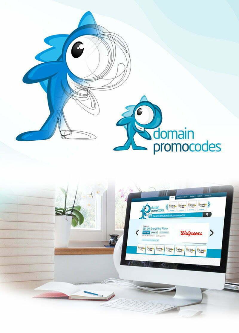 domain promo codes web sitesi balık maskot tasarımı maskotu