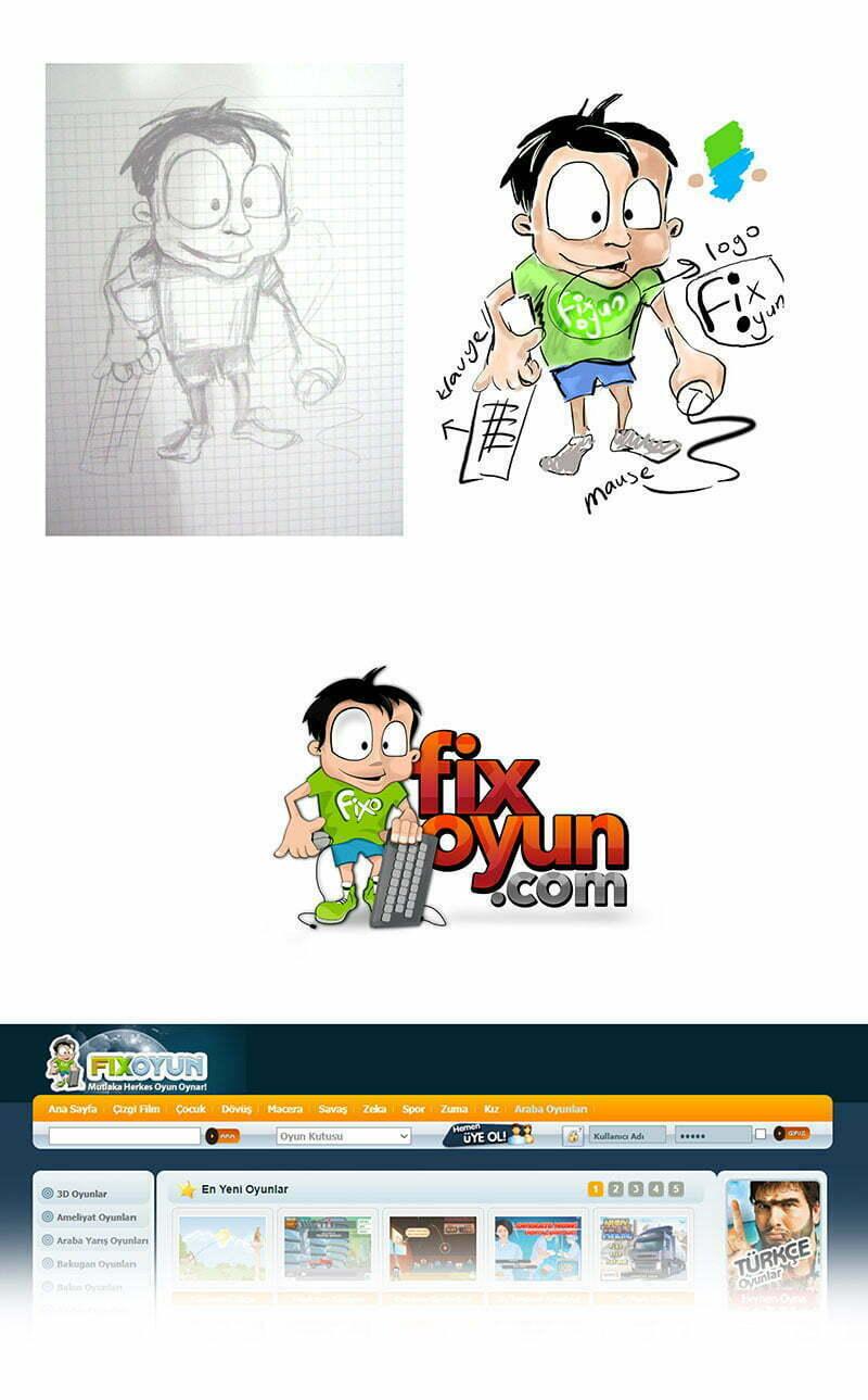 fix oyun sitesi maskotu tasarımı