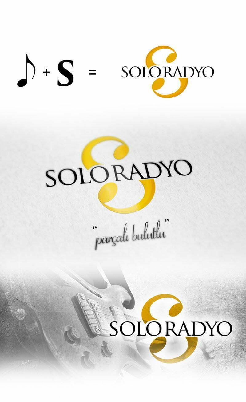 solo radyo nota s harfi logo tasarımı