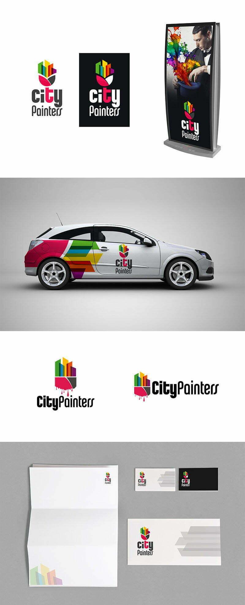 city painter logo tasarımı boya fırça boyacı logosu
